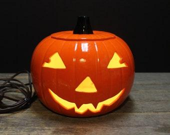 Vintage Lighted Ceramic Pumpkin // Fall Autumn Decor // Mazda Bulb // Halloween Decor