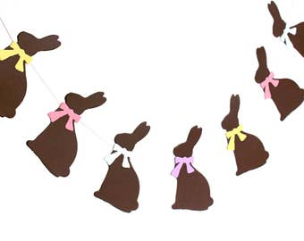 Chocolate bunny easter garland, Bunny easter banner, spring decor, bunny decoration, easter photo prop, chocolate brown bunny paper garland