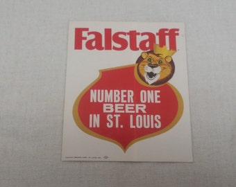 Vintage 1960s Falstaff Beer Sticker NOS - Lion - Falstaff Number One Beer in St. Louis - Falstaff Brewing Corporation, St. Louis Missouri