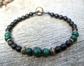 Mens bracelet, genuine malachite, metal and wood beads, handmade tribal surfer style, on strong cord, toggle and loop clasp, green, OOAK