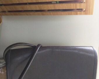 80s COACH PENNY LEATHER Grey Crossbody Bag #335-8215
