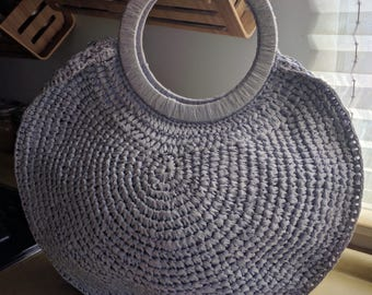 DREAMY 60S LILAC CIRCULAR Handbag with Zippers on Both Sides. Expandable Bottom, and Linen Lining