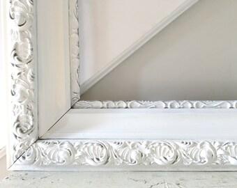 Vintage White Frame Large Ornate Shabby Chic