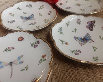 I. Godinger & Co Primavera Round Canape Plates Set of Four Lovely set includes Butterflies and Dragonflies