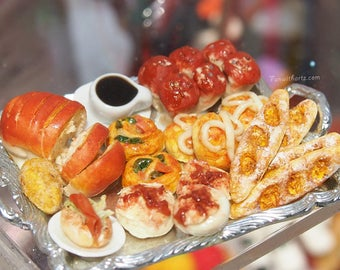 Miniature Croissants/Assorted Breads Plate Set- Ready Made only one set