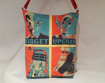 SOLD!!!*********Doctor Who oversized slouch bag, whovian, cross body bag, slouch bag, sci-fi bag, nerdy, dalek, Cyberman, K9, handmade bag