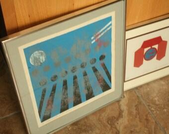 Space Age Modern Art, Holland MI artist, 2 Pieces of Artwork