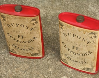 Set of Two Du pont Gun Powder Can, Old Gun Collectors Item, Great Condition, Father's Day, Gun, Home Decor, Man Cave, Man Decor