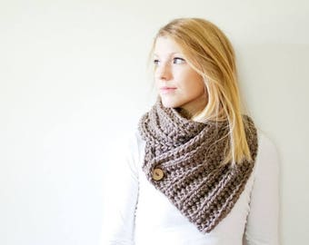 SPRING SALE chunky crochet scarf ribbed button cowl scarf - taupe - the OXFORD