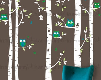 Five Birch Tree Decal | Owls and Birch Tree Forest Wall Decal | Birch Tree Owl Wall Decal for Nursery, Kids or Children's Room 078