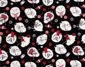 Timeless Treasures - Tossed Knitting Sheep - Black - Novelty Fabric - Choose Your Cut 1/2 or Full Yard