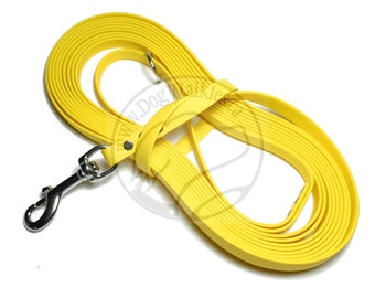 """Sunflower Yellow -   Waterproof Long Line - 1/2"""" (12mm)wide Genuine Biothane - Tacking Line - Recall - Choice of hardware and length"""