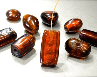 SUPPLY: 9 LARGE Handcrafted Rustic Lampwork Centerpiece Glass Beads - Foiled Beads - SKU 7-B4-00007700
