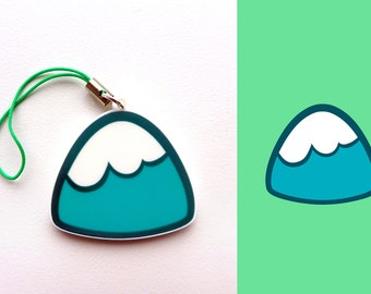 Acrylic Cute Mt. Mountain Hill Nature Charm Keychain with Phone Strap