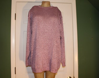 80s Glittery PINK TUNIC Sweater Top Pullover Sparkly Bling Disco GIANNINA Valentines Day Metallic Blingy Glam Rocker Xl+ 48