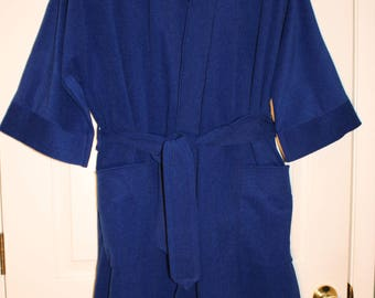 Royal Blue MUNSINGWEAR ROBE w BELT Vintage Mens Lounge Style Bathrobe Shaving Smoking Light-Med Weight One Size Fits Most Excellent Condit