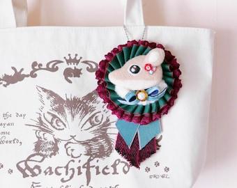 Handmade needle felt deer rosette badge, felt fawn rosette brooch, whimsical felt animal bag charm, purple ribbon, gift under 25