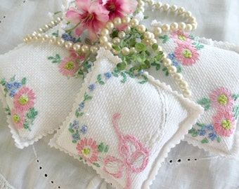 Lavender Sachets, Set of 3, Handmade from Embroidered Vintage Linens, Highly Fragrant Lavender Aroma Therapy, Potpourri, TheSweetBasilShoppe