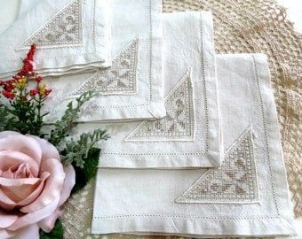 Linen Napkins w Lace Insert, Vintage Beige Shabby Cottage Dinner Napkins with Hem Stitched Edges, Vintage Linens by TheSweetBasilShoppe