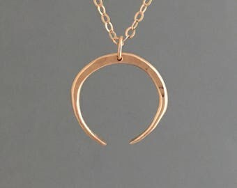 Hammered Double Horn Necklace in Gold, Silver, and Rose Gold