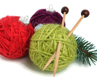 Yarn Ball Knitting Ornament, Knitter Gift, Christmas Tree Ornament Muted Colors