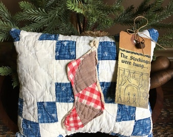 Primitive Christmas  Stocking Prim Pillow Tuck~ Vintage Indigo Quilt Christmas gift- Winter- The Stockings were Hung by the Chimney- red