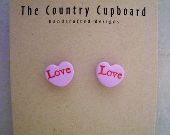 Conversational Heart Earrings - Polymer Clay - Valentine's Day