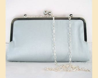 Wedding clutch bag, blue silk bag, shoulder chain, silk bridal purse, bridesmaids clutch, blue bridesmaids bag