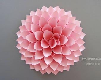 paper dahlia || 10'' dahlia wall decor || wedding flower | origami gifts || nursery wall decor || bridal shower backdrop -pink