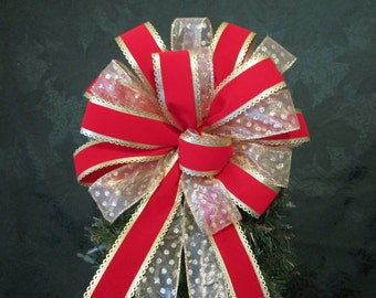 Christmas Bow /  Christmas Tree Topper Bow / Tree Topper Bow / Red and Gold Bow / Wreath Bow