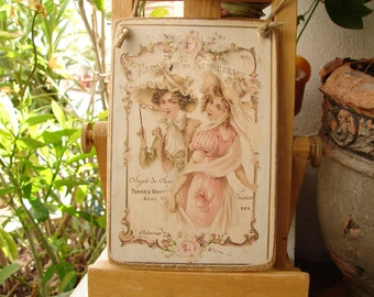 Victorian ladies & roses, French fashion,mode, vintage style image sealed onto wood, shabby chic hanging decoration
