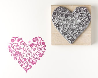 Personalised Flowery Heart Stamp