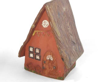 Terra Cotta Fairy Cottage with woodgrain Roof