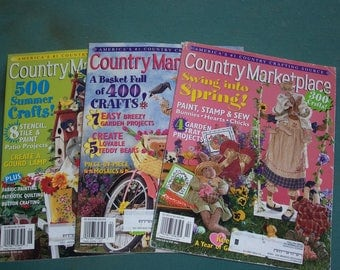 Country Marketplace Magazines...Three Copies...Vintage Craft Magazines..2002 Country Crafts Books...Complete..