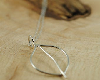 Organic Argentium Silver Leaf Necklace