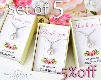 SET OF 5 Bridesmaid Necklace, Bridesmaid Jewelry Bridal Party Gift Bridal Shower Bridesmaid Gift Wedding Party Gift Bridesmaid Pendant W04