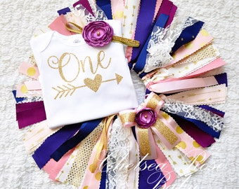 Pink Navy Gold Fabric tutu outfit, First Birthday tutu set, Pink Gold Birthday tutu Outfit, Pink Gold Birthday, baby girl birthday