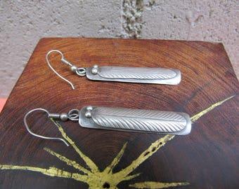 Native American Feather Earrings Navajo Earrings Jonathan Mike Long Silver Dangle Earrings Southwestern Jewelry