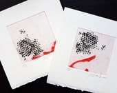 Original Printmaking Collography Collection. Set of Miniprints Red and Black. Abstract Square Printmaking Collection. Intaglio.