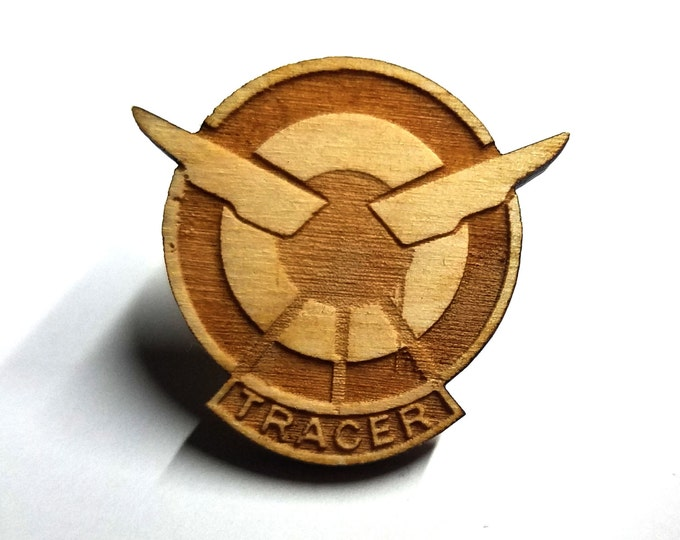 Overwatch Tracer Logo Pin   Laser Cut Jewelry   Wood Accessories
