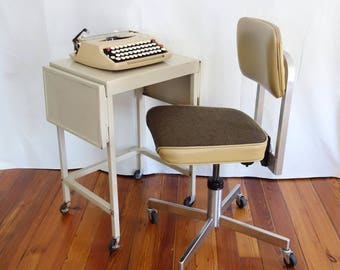 Vintage Typing Table, Metal Bedside Table, Industrial Student Desk, Typing Stand, Rolling Laptop Stand