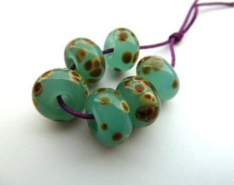 handmade aqua frit lampwork glass beads, UK set