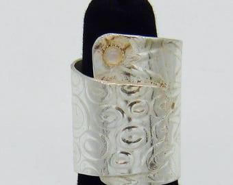 Handmade Patterned Argentium Moonstone Wrap Ring
