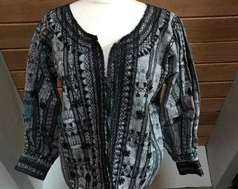 Beautiful Ikat Embroidered Jacket with tassle ties from Guatemala Black White Metallic Size small/medium