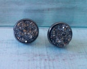 Black Druzy Geode Earring. 12mm Nickel-free. Stud Post Earring. Drusy earrings. Natural Looking. Druzy. Faux. Christmas Gift.