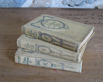 Decorative French books 3 cream and green Nelson Editions dated 1930s