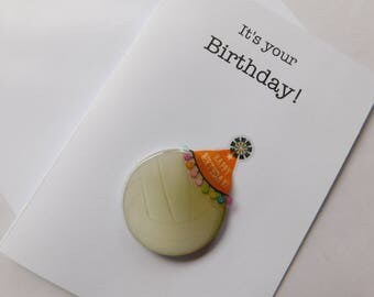 Volleyball Birthday Card - Birthday Handmade Greeting Card with Volleyball embellishment