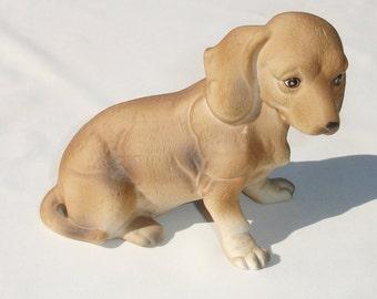 RARE Porcelain Tan Dachshund Figurine - Numbered