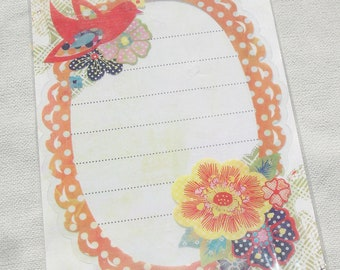 Colorful Plastic Overlay with Flowers and Bird