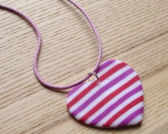 Polymer Clay Pendant, Pattern Heart Pendant, Beach Jewellery, Scuba, Handmade Necklace, 16th Birthday Gift, Gift for Daughter, FIMO Pendant